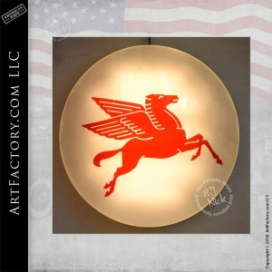 Mobil Pegasus Round Lighted Sign