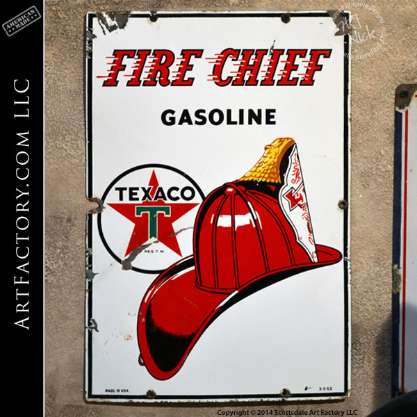 vintage Texaco Fire Chief sign