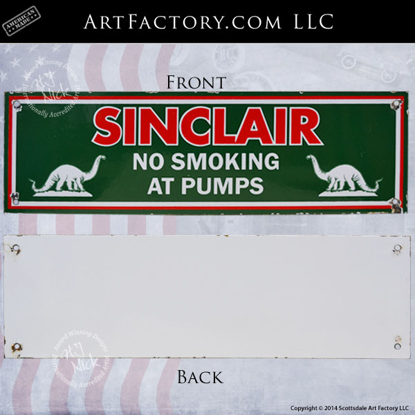 vintage Sinclair no smoking sign