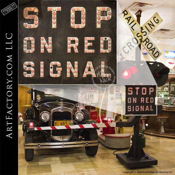 Vintage Railroad Crossing Sign: Genuine Working Crossbuck Signal