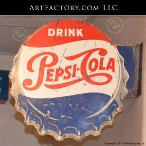 Pepsi Cola Bottle Cap Flange Sign