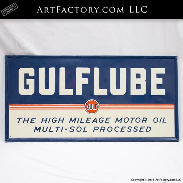 gulflube tin litho sign