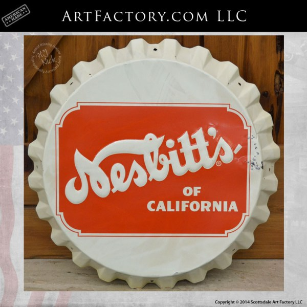vintage Nesbitts bottle cap sign