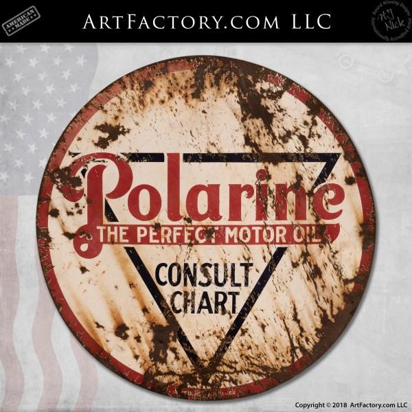 Polarine Motor Oil Sign: Large Round Collectible Petroliana
