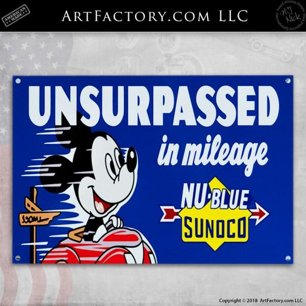 Mickey Mouse Nu-Blue Sunoco Sign