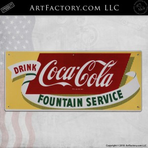 Vintage Coca-Cola Fountain Service Sign