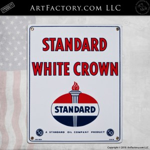 Standard White Crown Porcelain Sign