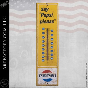 vintage Say Pepsi Please thermometer