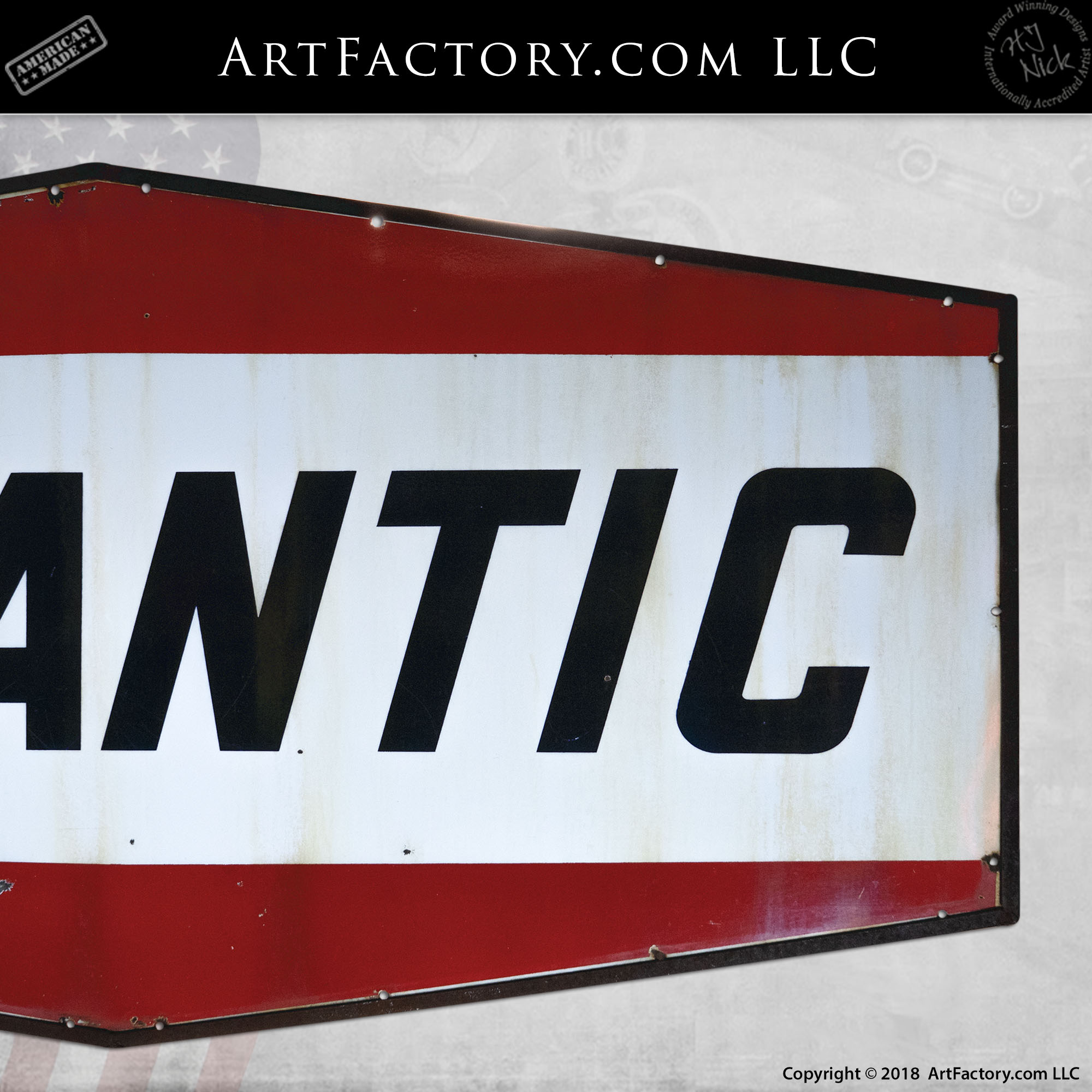 Large Hanging Vintage Atlantic Gasoline Sign