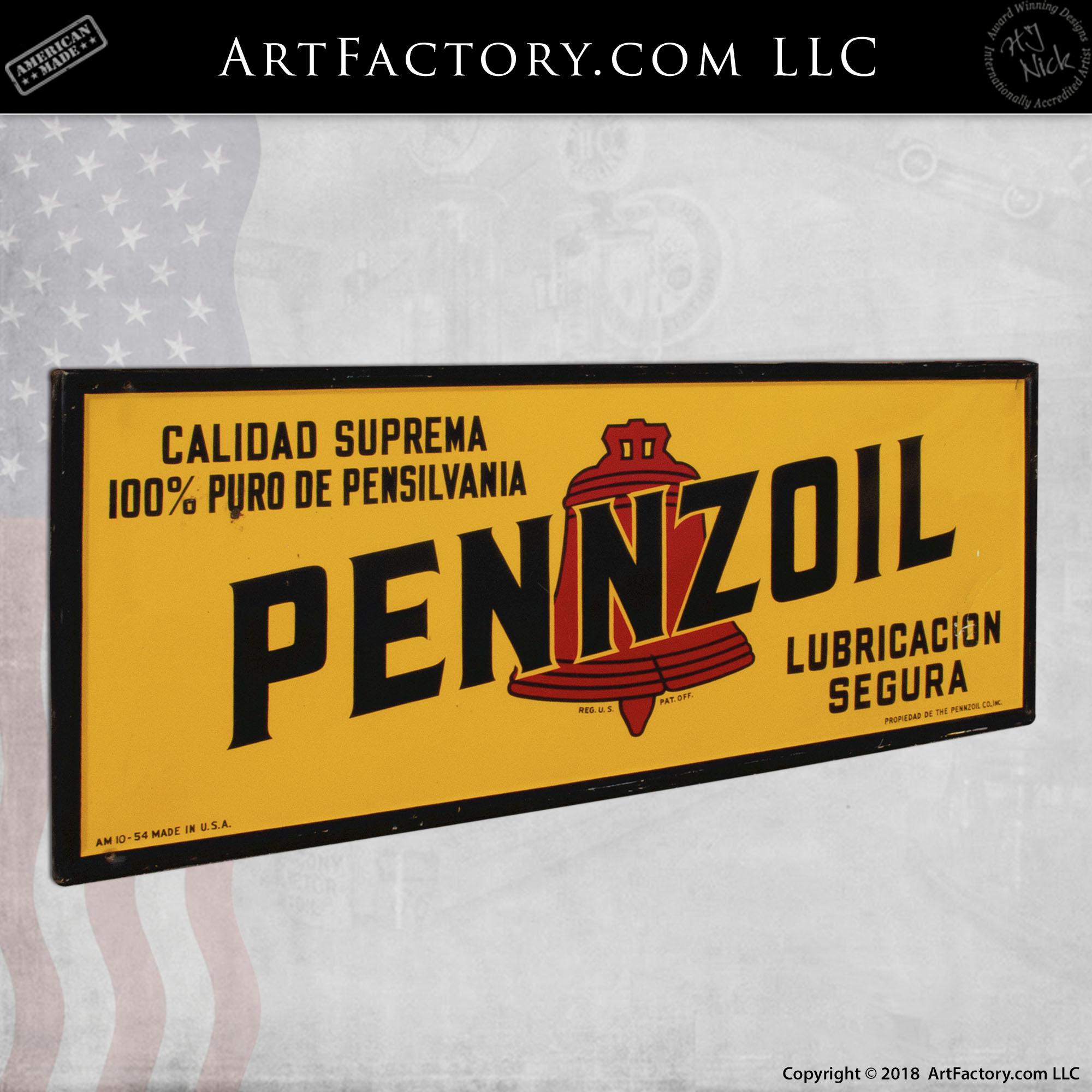 Vintage Large Pennzoil Motor Oil Sign