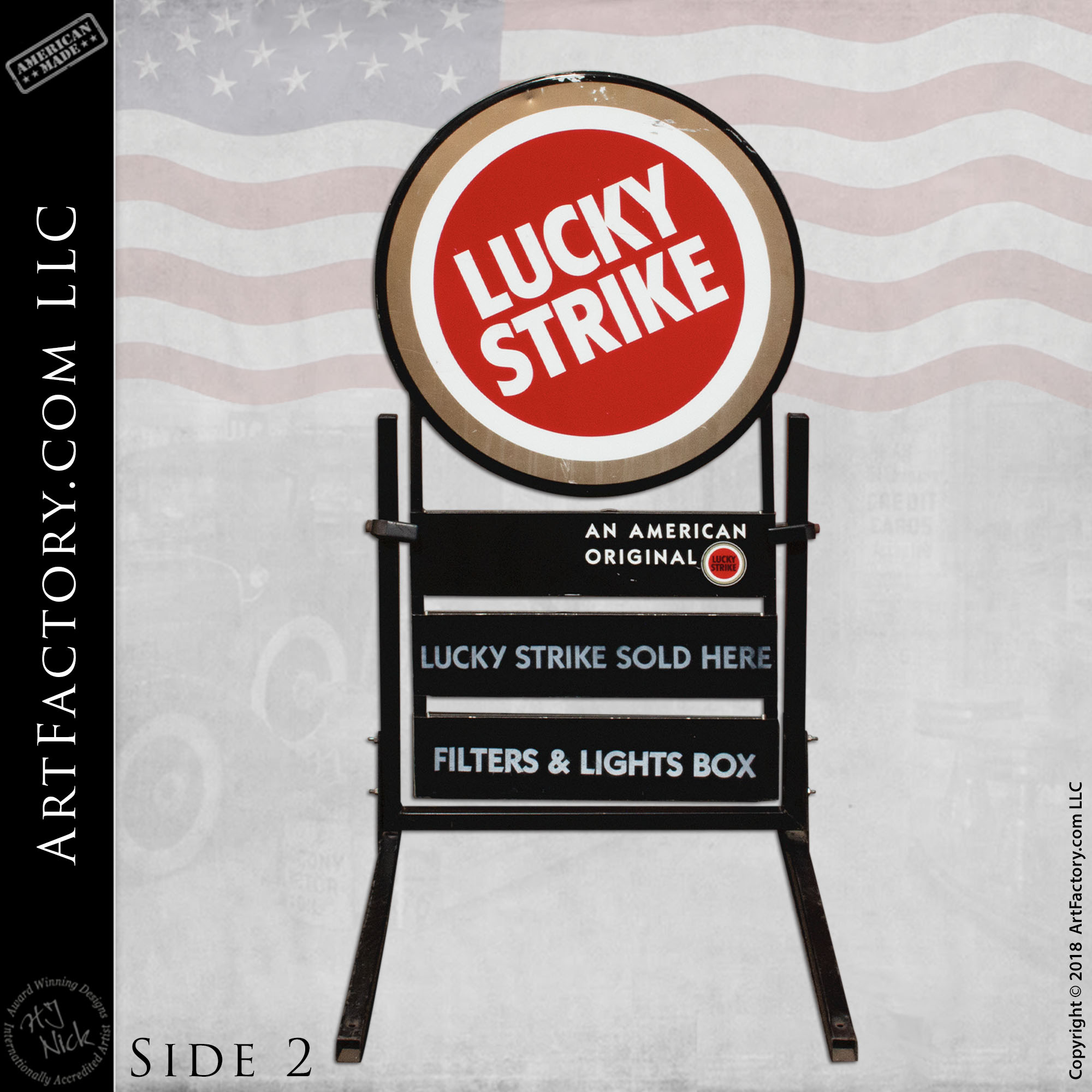 collectible Lucky Strike Sign side 2