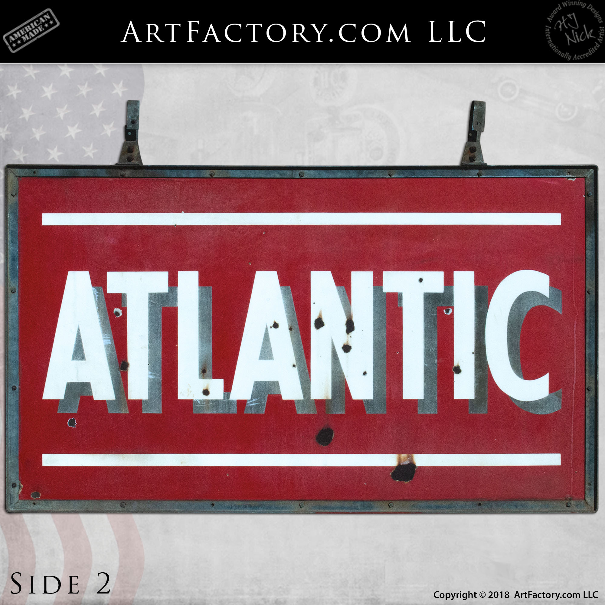 Vintage Atlantic Gasoline Hanging Sign