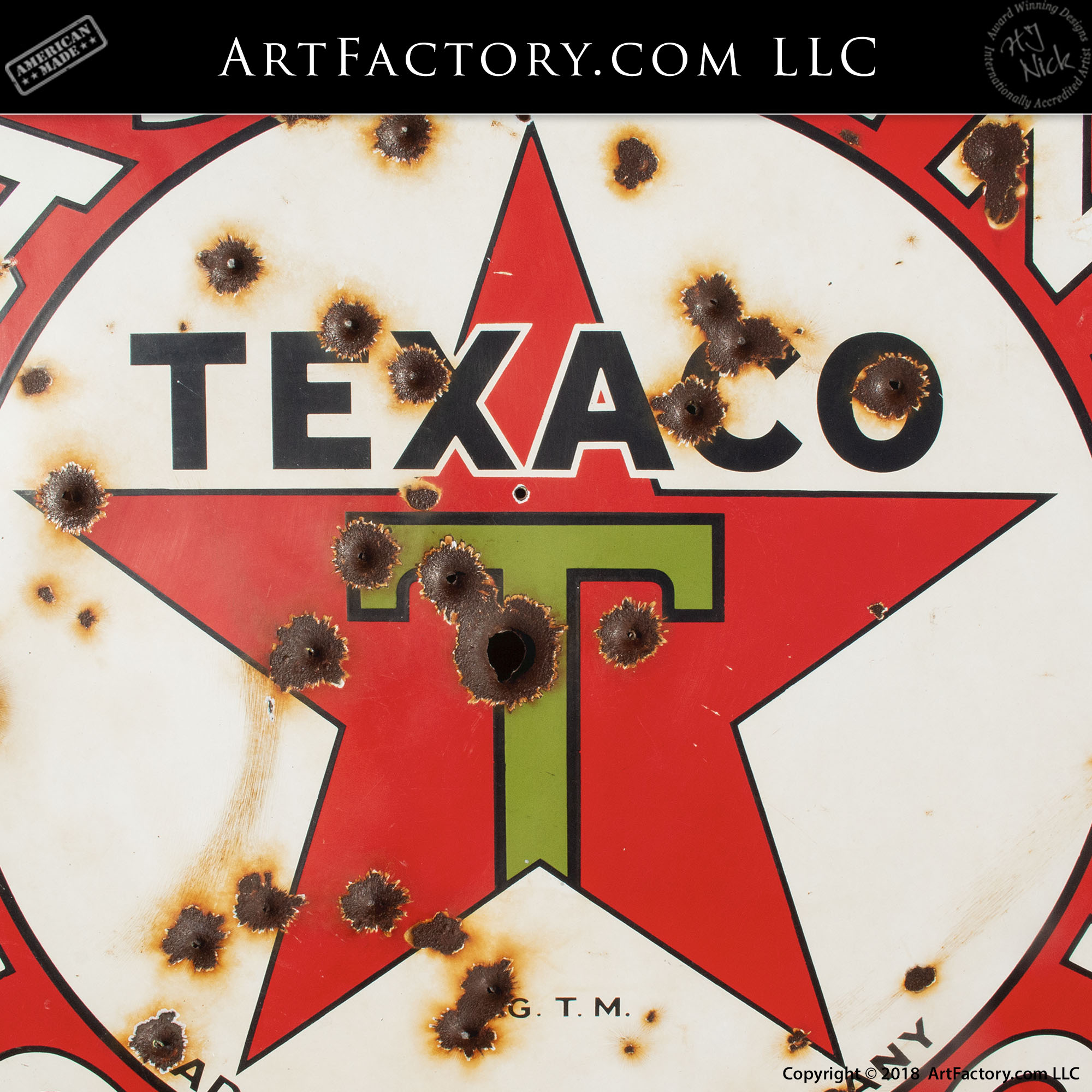 Vintage Texaco Gasoline Sign with Bullet Holes