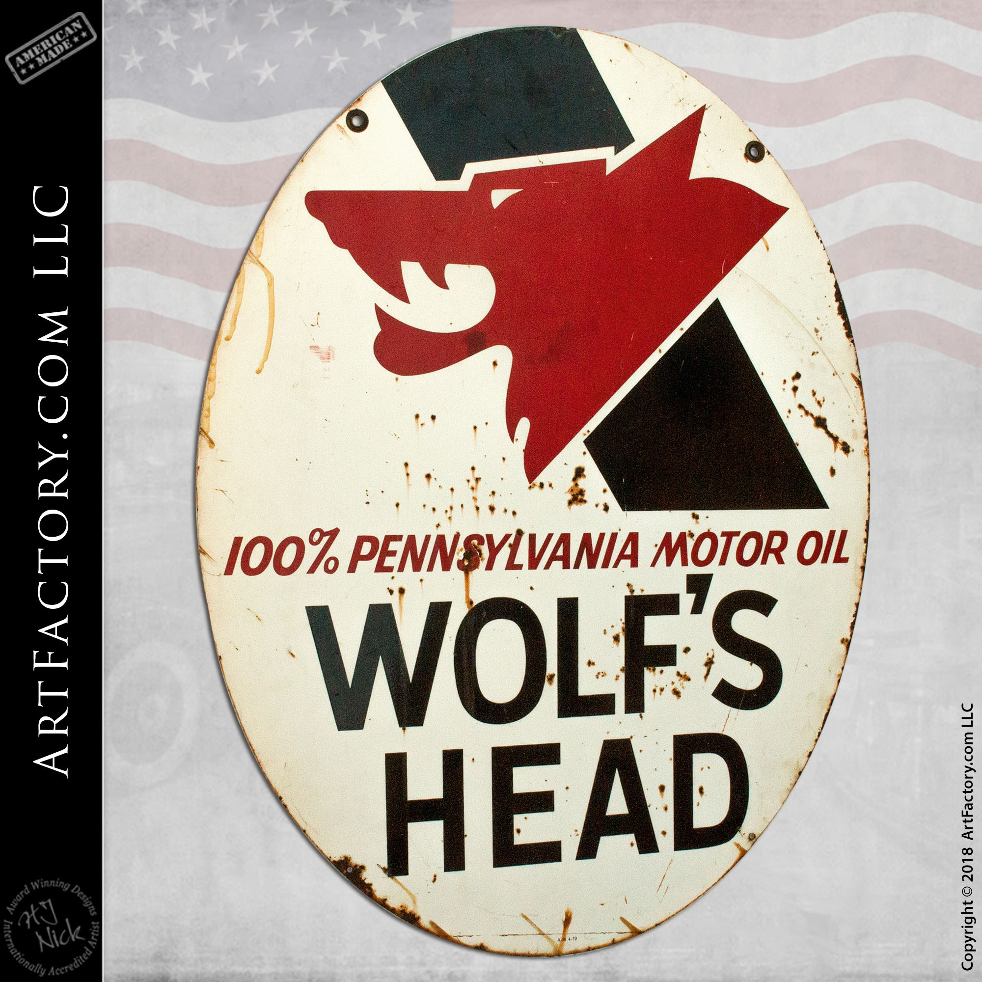 Wolf's Head Motor Oil Sign