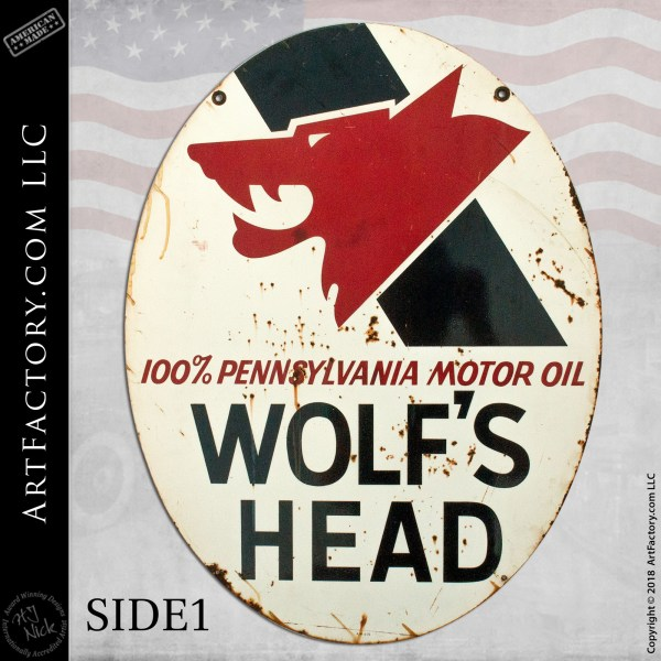 Wolf's Head Motor Oil Sign Side 1