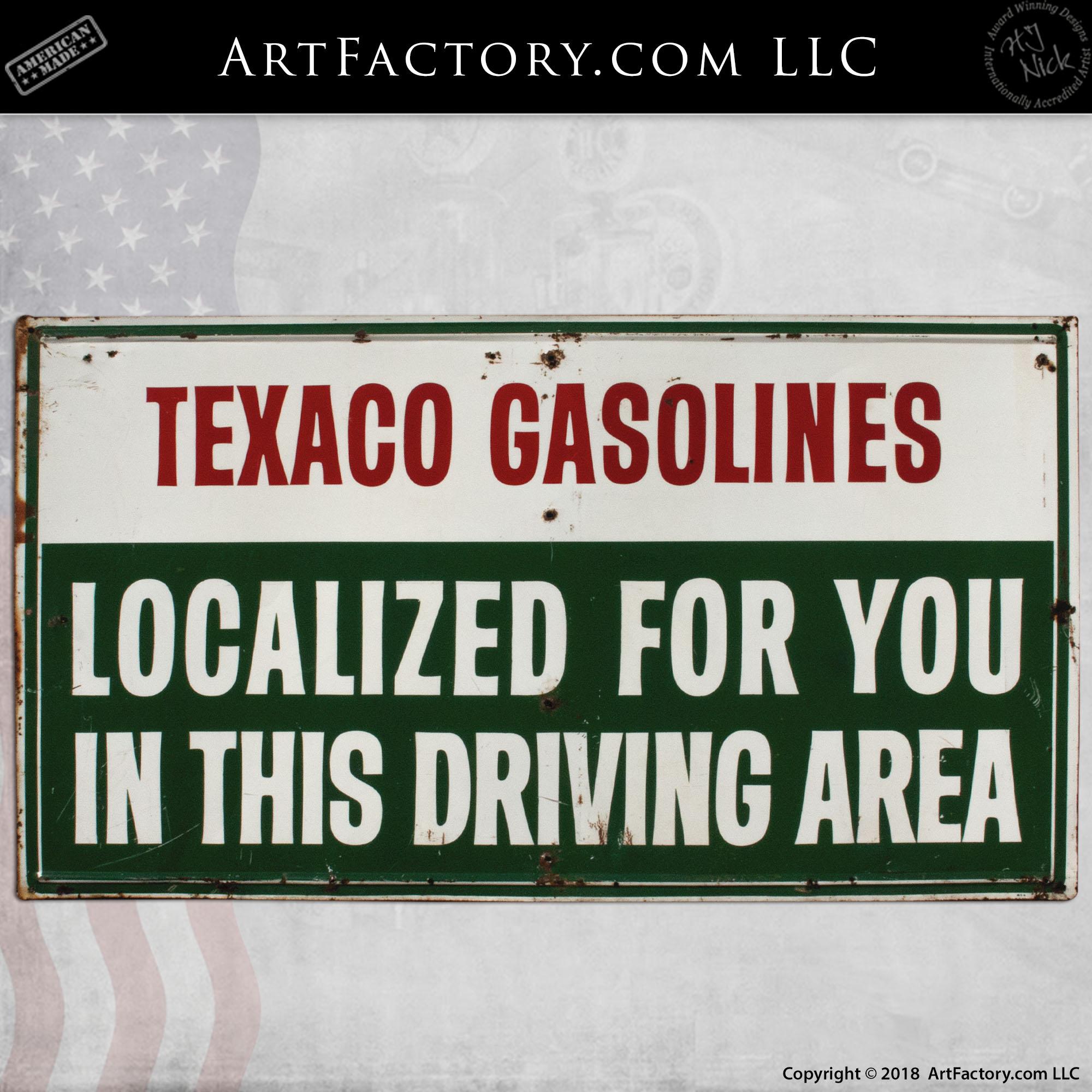 Vintage Texaco Localized Gasoline Sign