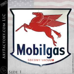 Large Vintage Mobilgas Pegasus Badge Sign