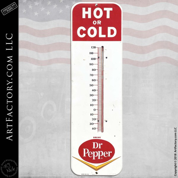 Vintage Dr. Pepper Soda Thermometer