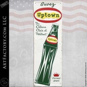 Vintage Buvez Uptown Soda Porcelain Sign