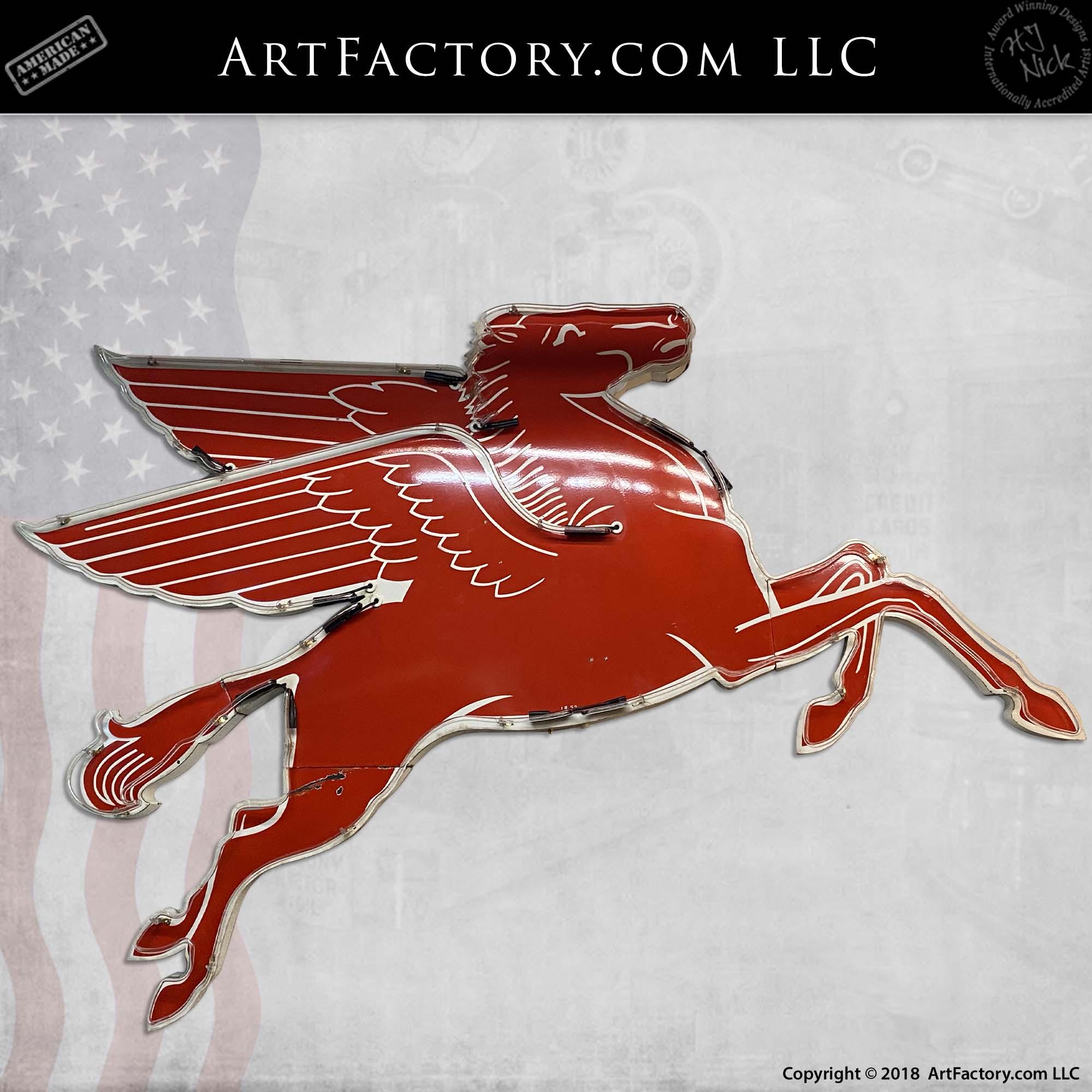 Vintage Right-Facing Neon Mobil Pegasus Sign