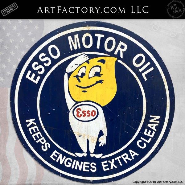 Vintage Esso Boy Motor Oil Porcelain Sign