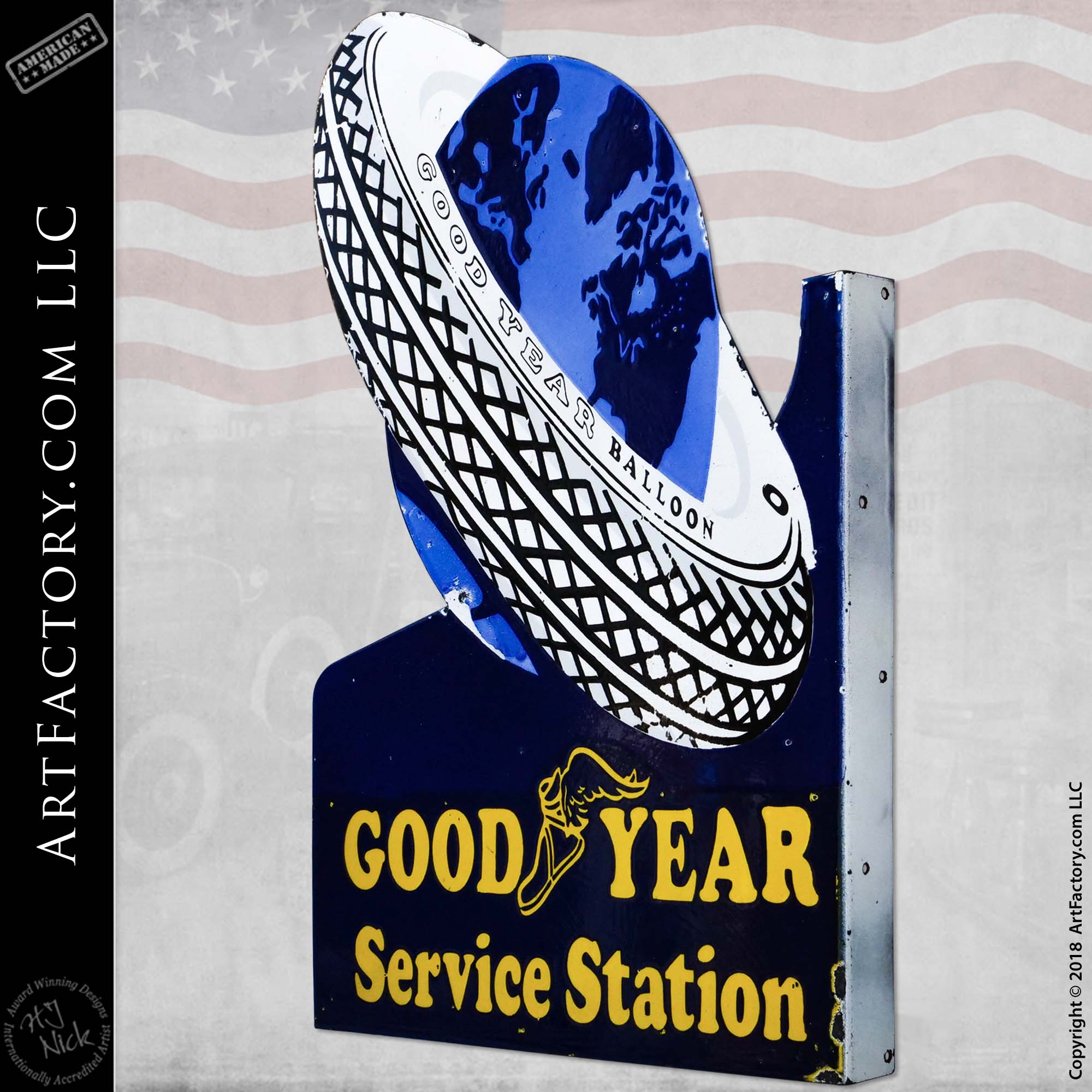 Vintage GoodYear Balloon Service Station with Planet Flange Sign