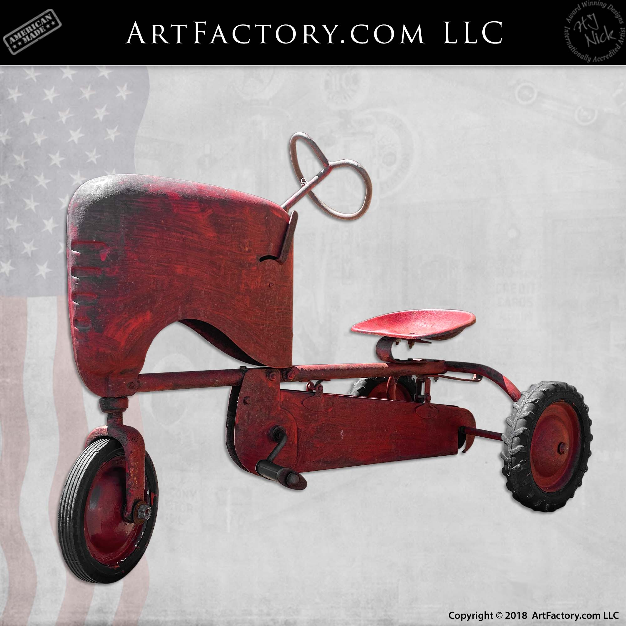 Vintage-BMC-Red-Tractor-Pedal-Car-2