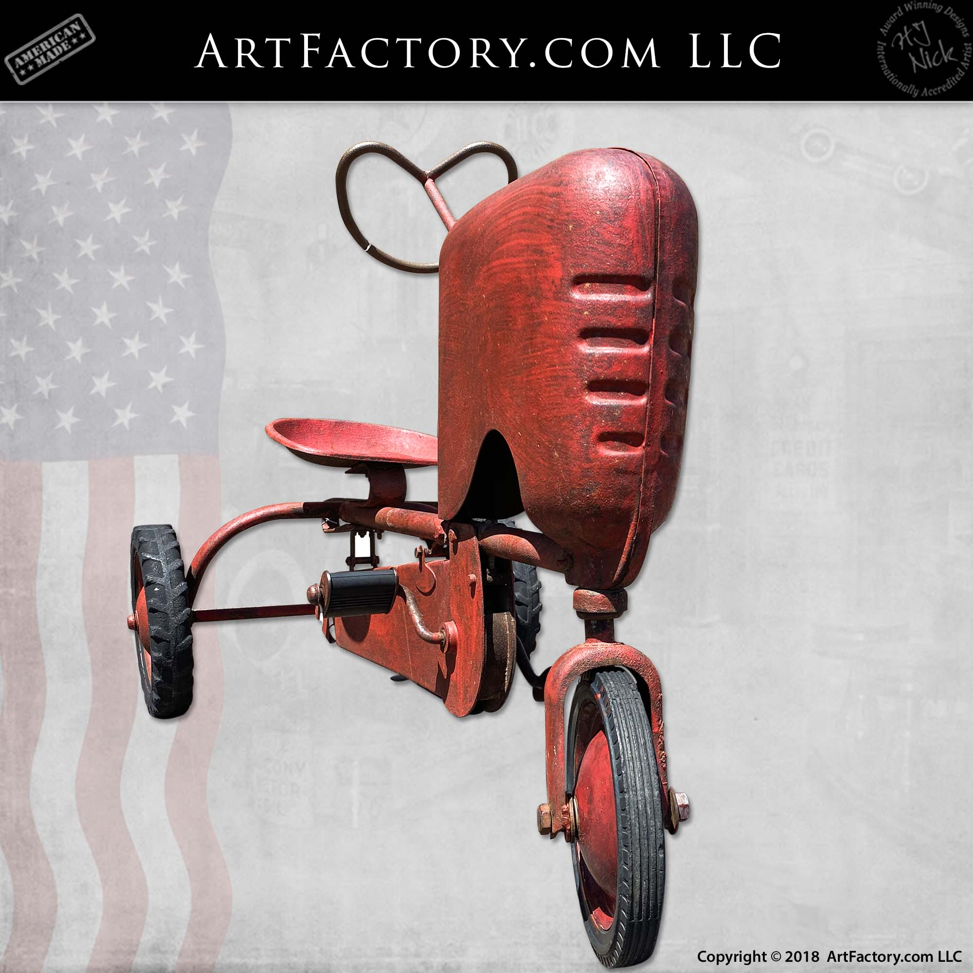 Vintage-BMC-Red-Tractor-Pedal-Car-3
