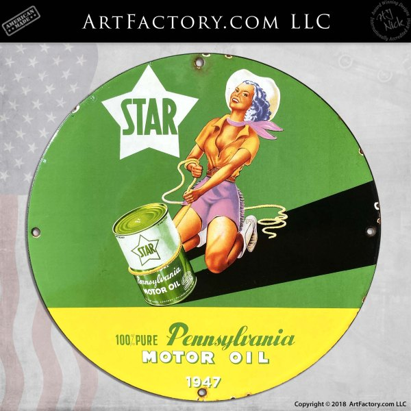 Vintage Star Cowgirl Pennsylvania Motor Oil Sign