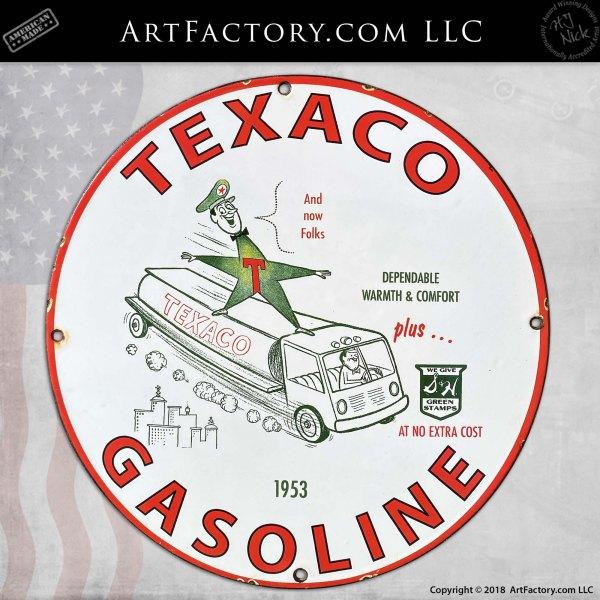 Vintage Texaco Gasoline Plus Green Stamps Porcelain Sign