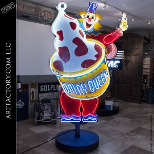 Vintage Neon Signs Dairy Queen Curly The Clown Neon Sign