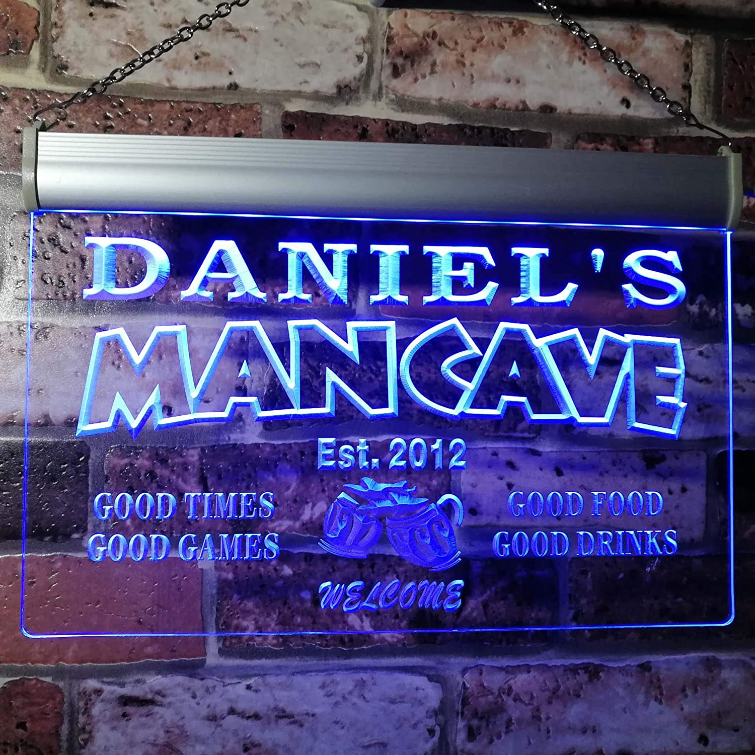 advpro man cave bar custom personalized name & date neon sign