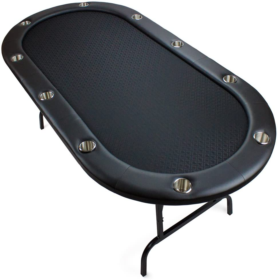 brybelly casino poker game table with stainless steel cup holders and padded sides