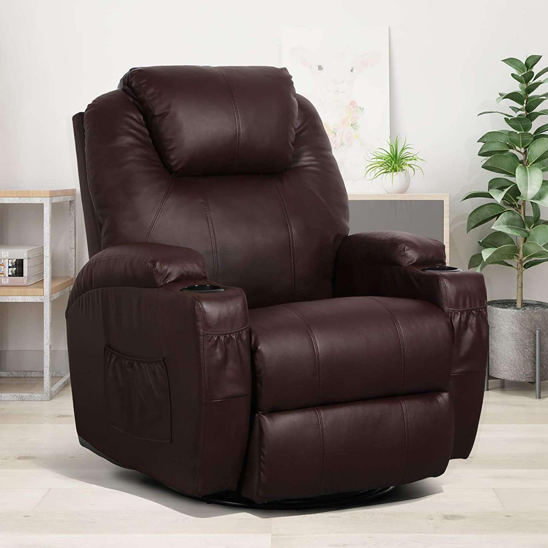 esright massage recliner, heated pu leather ergonomic lounge chair