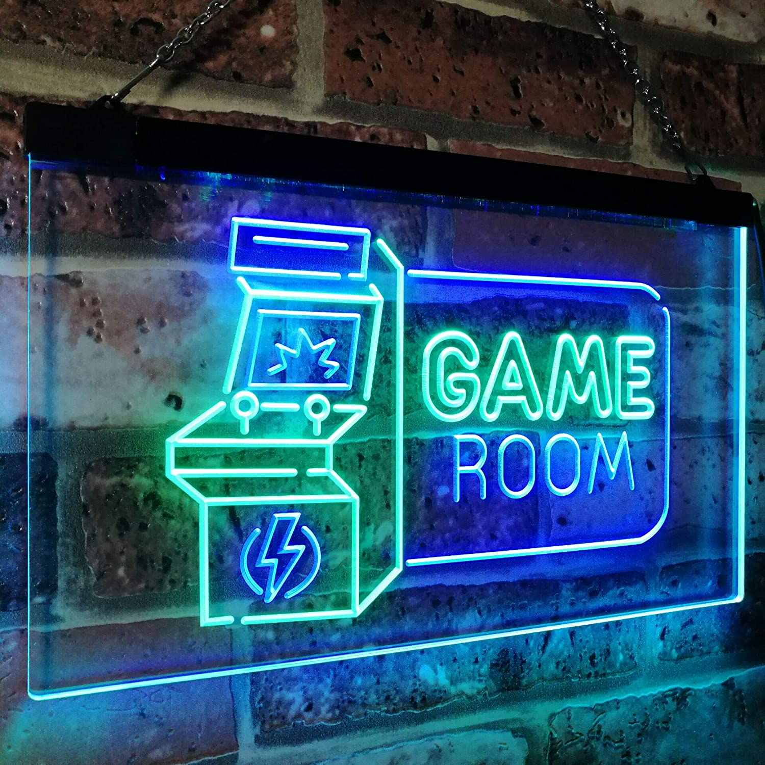game room arcade tv man cave bar club dual color led neon sign