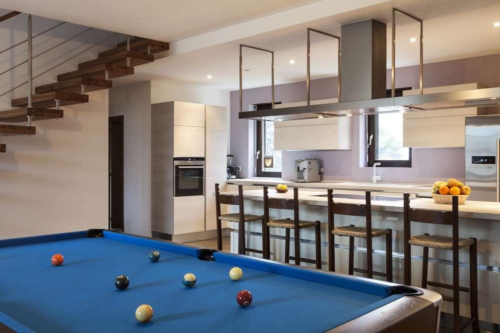 modern loft with billiards