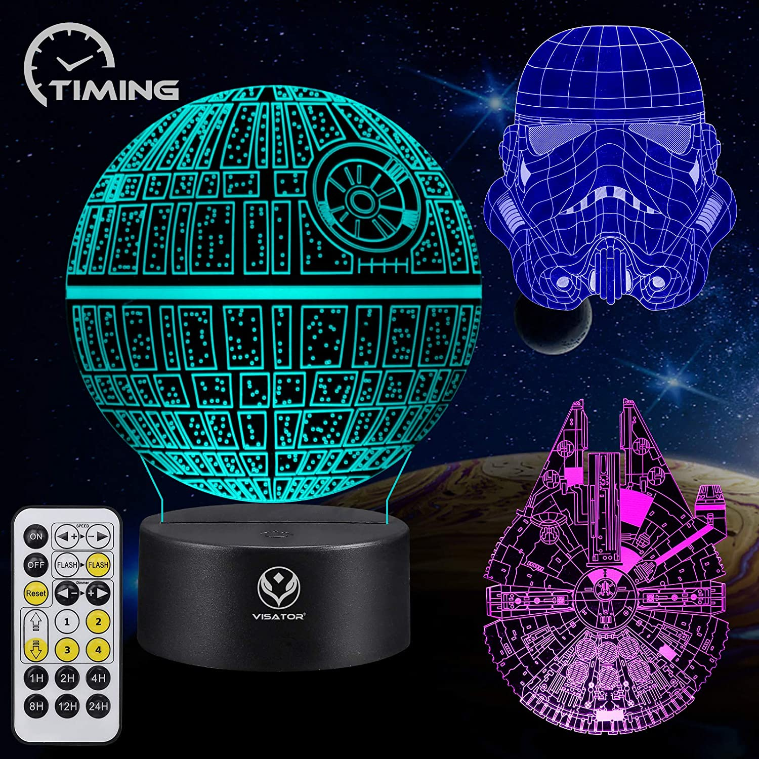 star wars illusion lamp toy 7 colors changing dimmable with smart touch and timing remote control