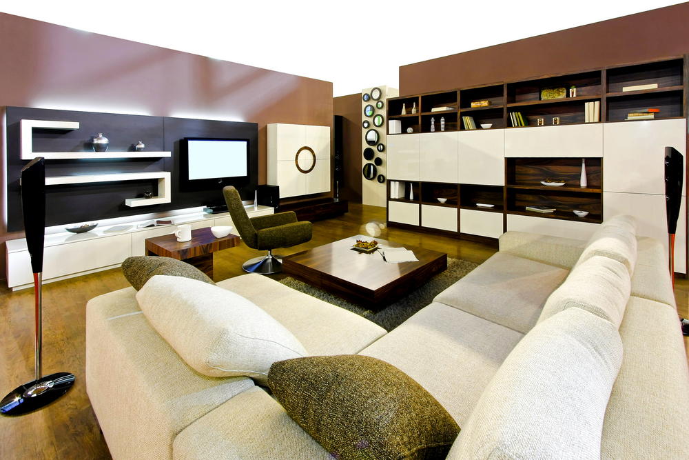 big living room in modern decorated apartment