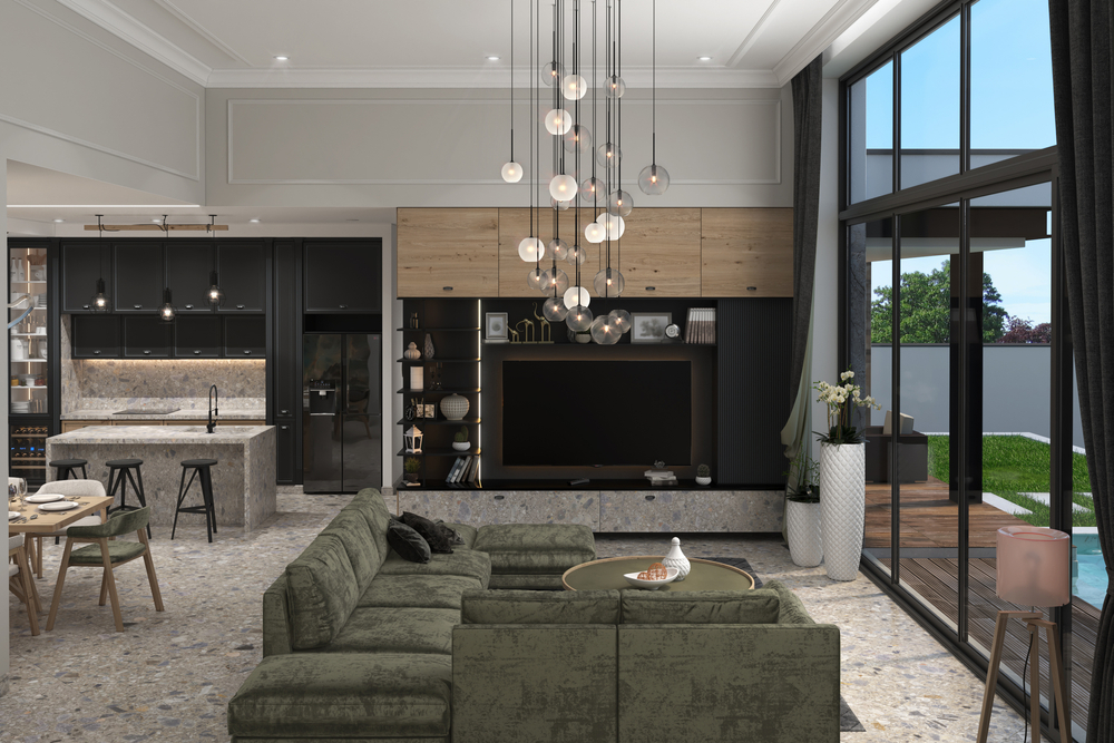contemporary style living room, 3d illustration