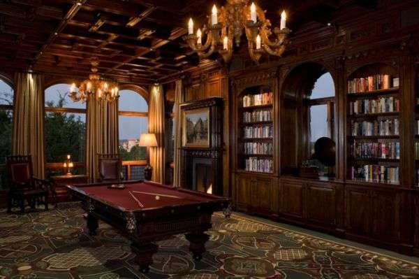 dark oak library themed pool room design idea