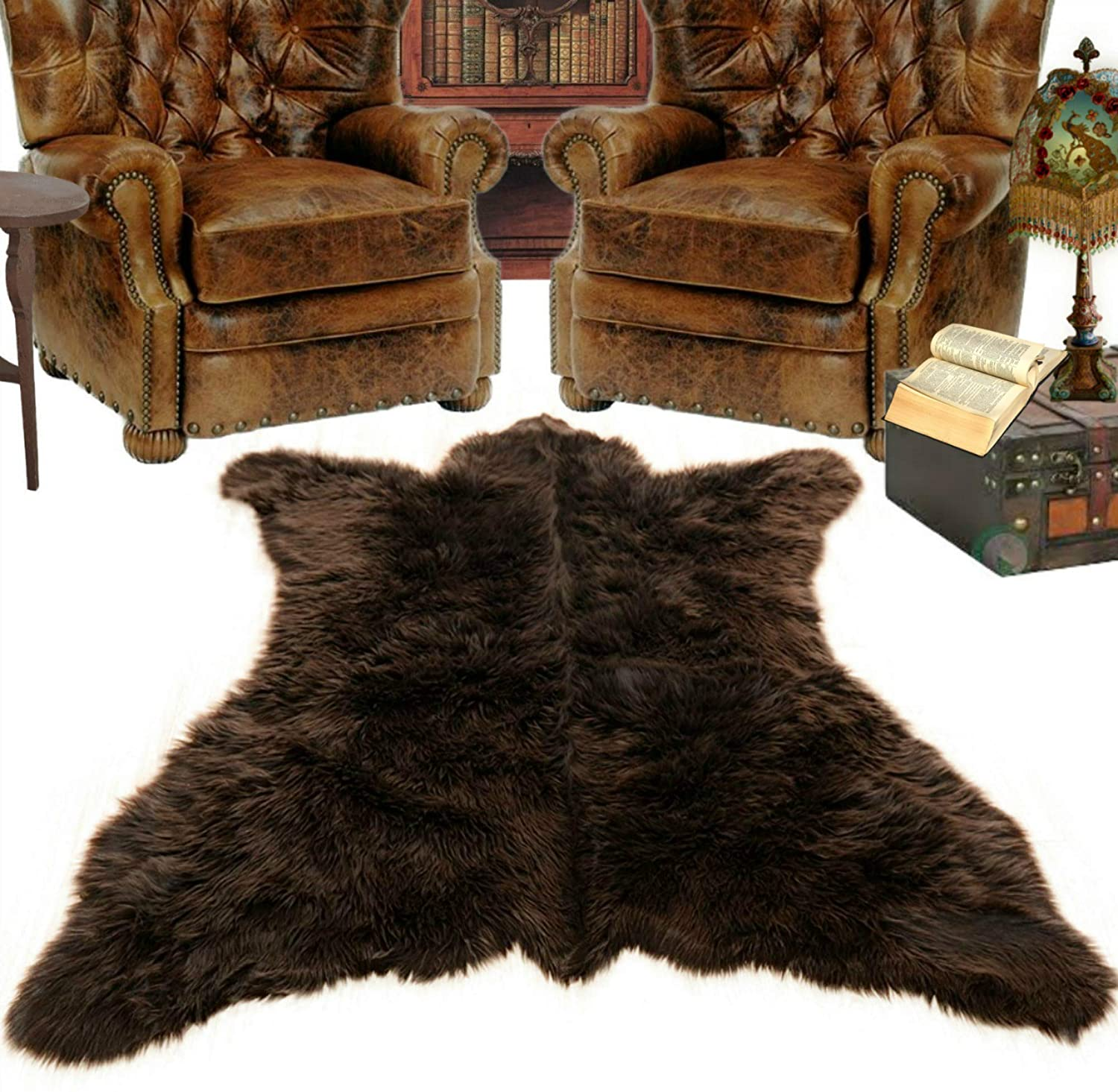 fur accents faux bear skin rug isolated on white background