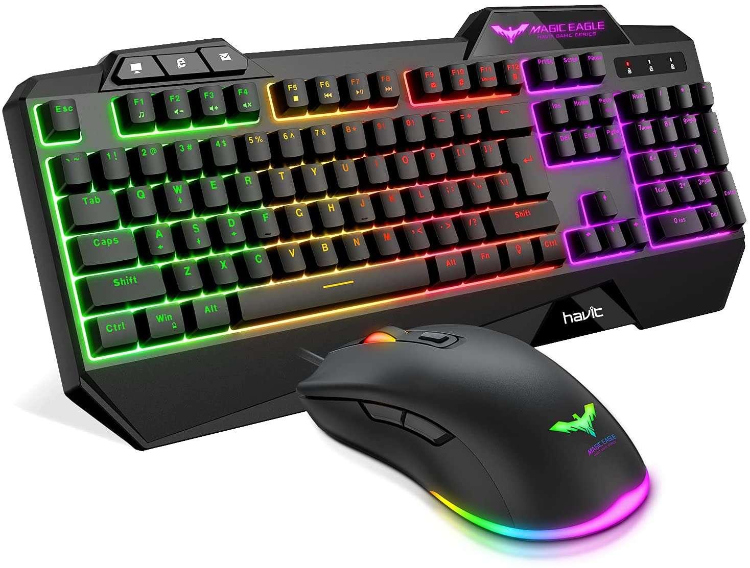 havit rgb backlit gaming keyboard mouse combo