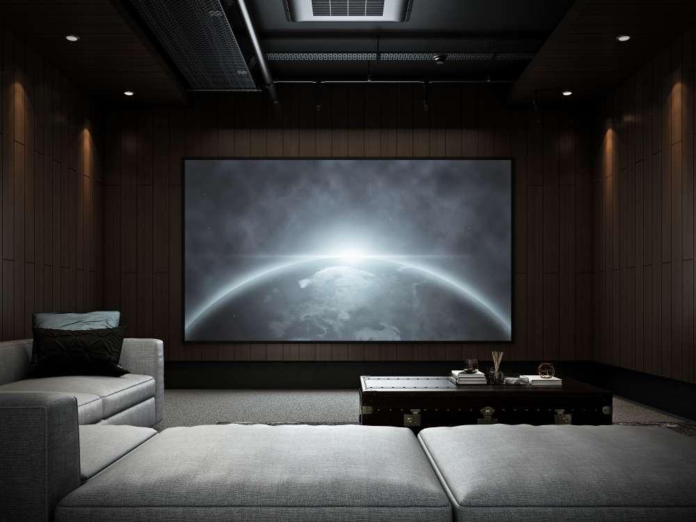 modern luxury home theater room 3d render
