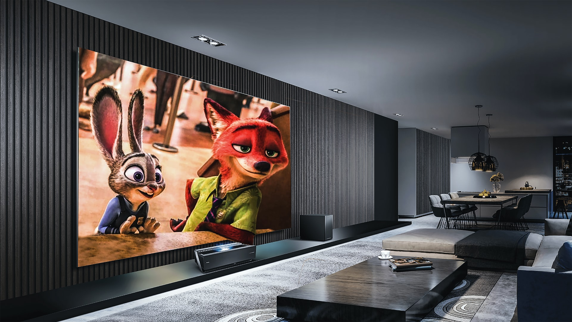 playing animated movie on large screen tv