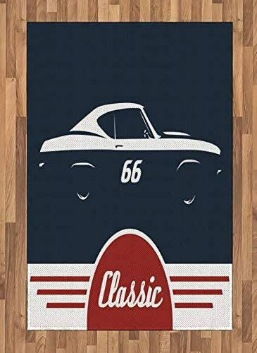 lunarable classic vintage sports car man cave area rug
