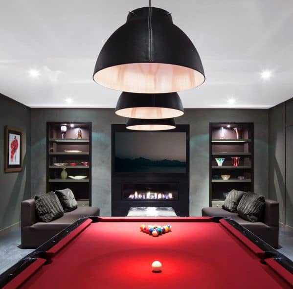 luxurious red and black style pool room design idea