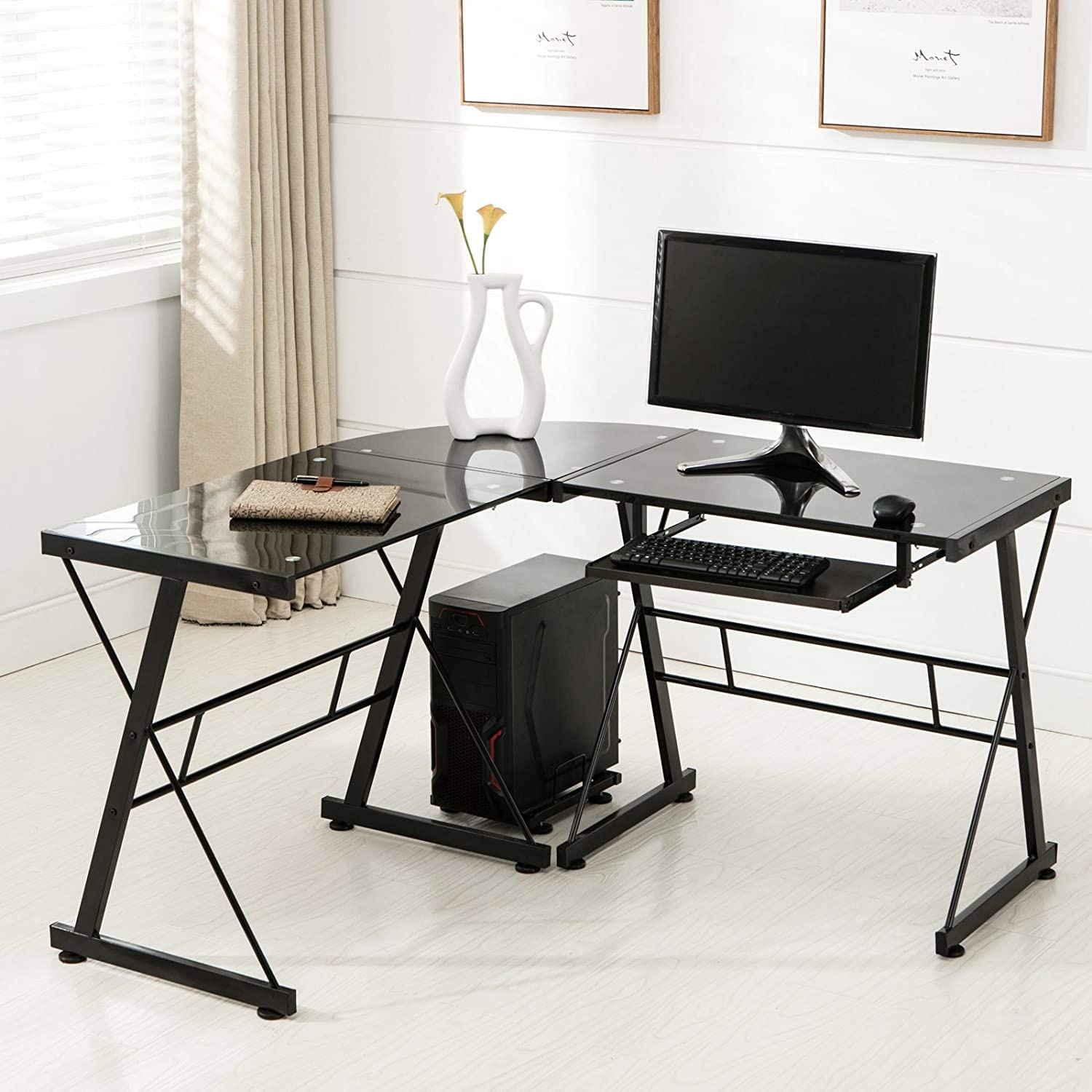 mecor l shaped tempered glass computer desk with keyboard tray & cpu stand corner