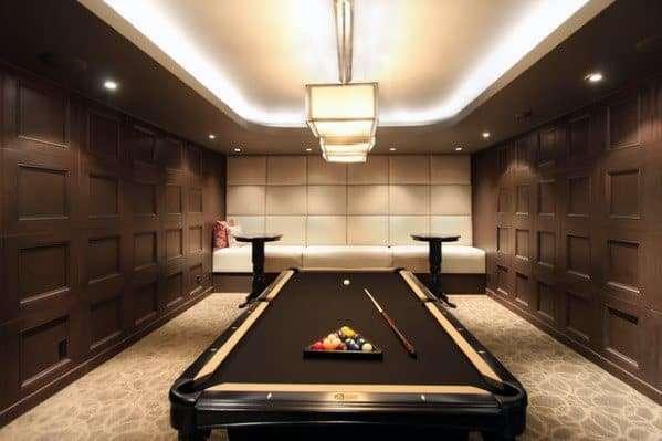 minimal brown themed pool room design idea