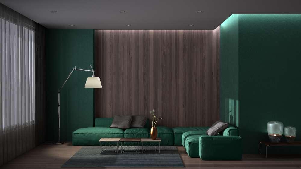 luxury minimal living room with parquet floor