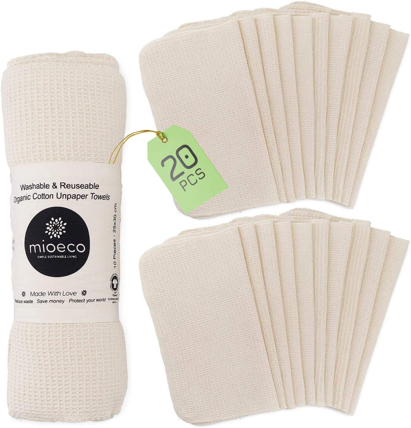 mioeco reusable unpaper bamboo washable towels isolated on white background